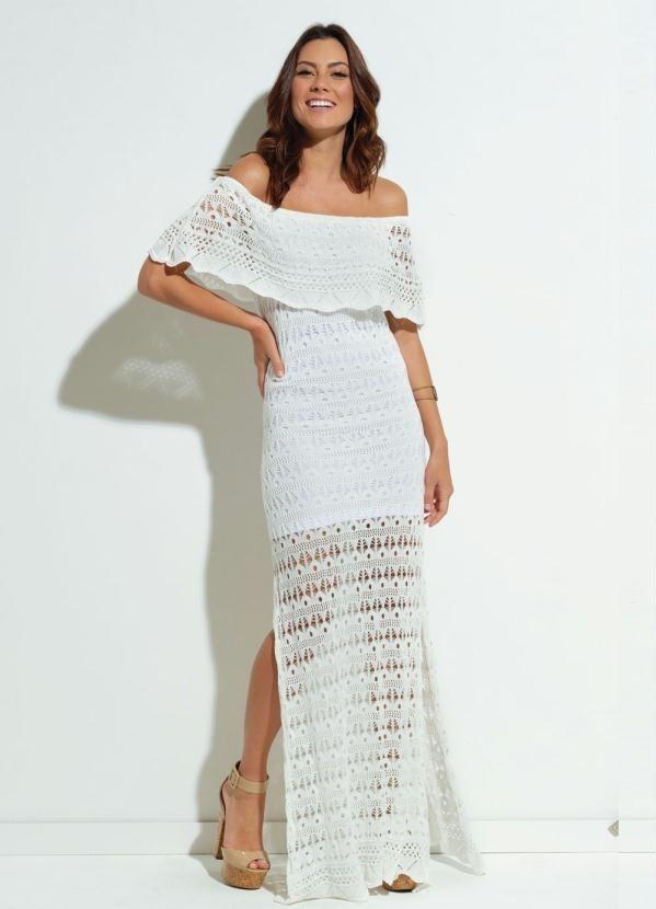 c5fc33be3f Vestido Longo Tricot Casamento Branco Ciganinha Psd-2722177 - R  189 ...