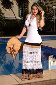 5bf2738247 Vestido Longo Trico - Vestidos Casuais Longos Femininas no Mercado Livre  Brasil