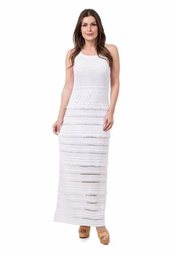 vestido longo tricot renda com forro moda blogueiras franjas