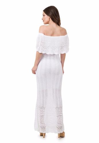 vestido longo tricot renda ombro a ombro babado frete grátis