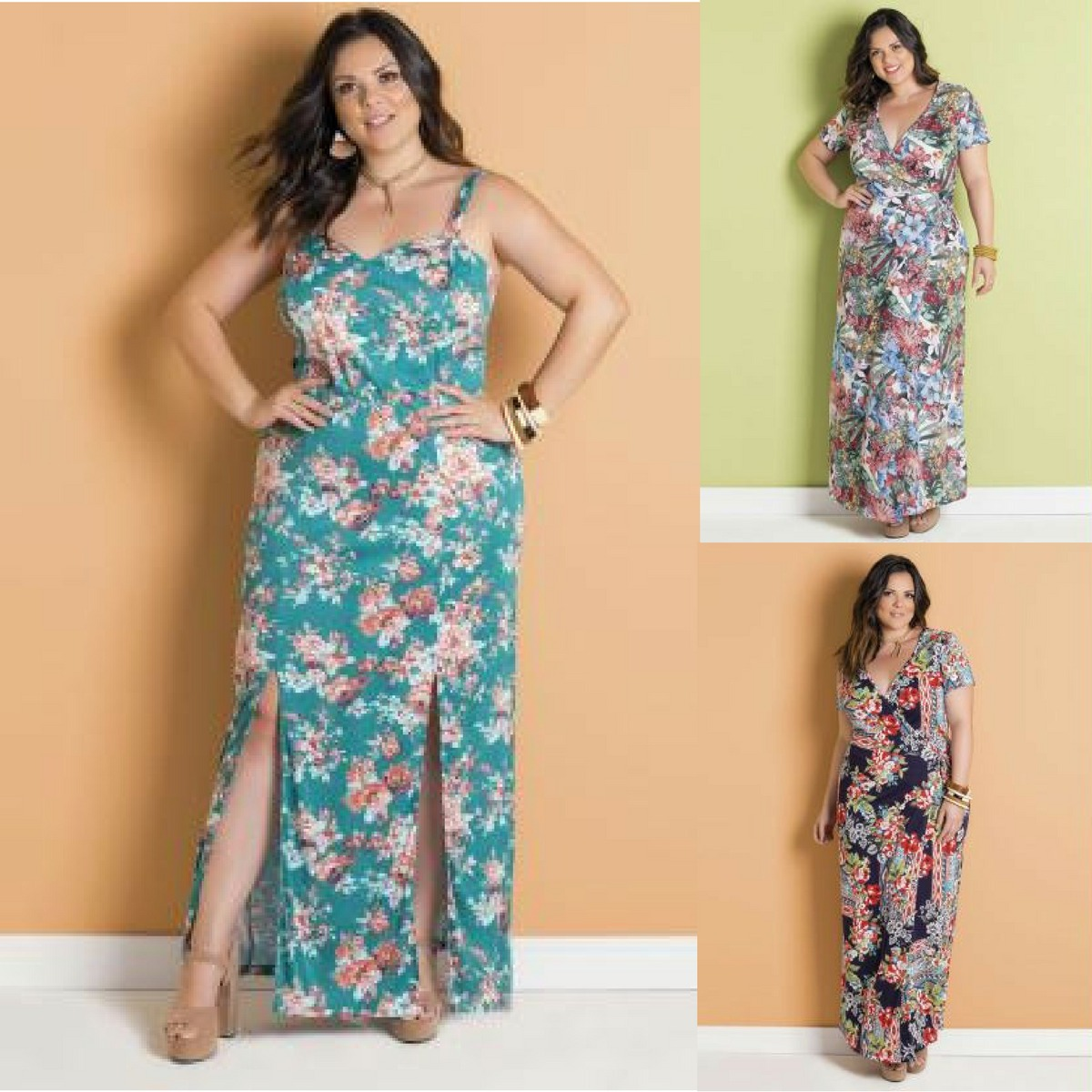 2b2640df9 vestido longo tropical floral com fendas estampado plus size. Carregando  zoom.