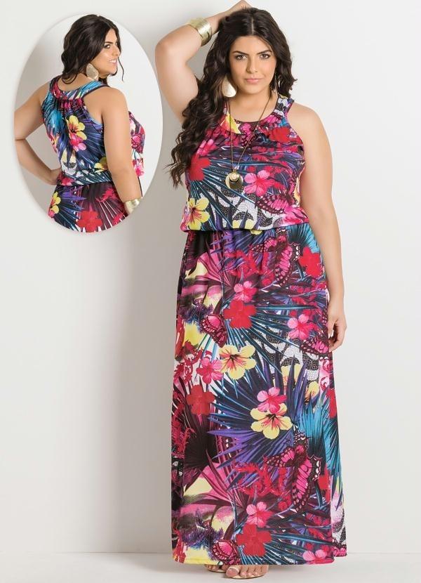 9da10b2850 Vestido Longo Tropical Plus Size Frete Grátis - R  178