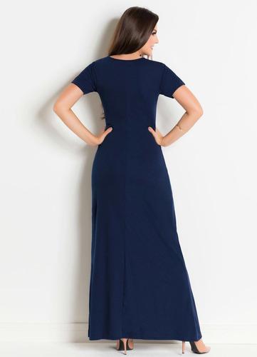 vestido longo tubinho moda evangélica azul marinho de festa
