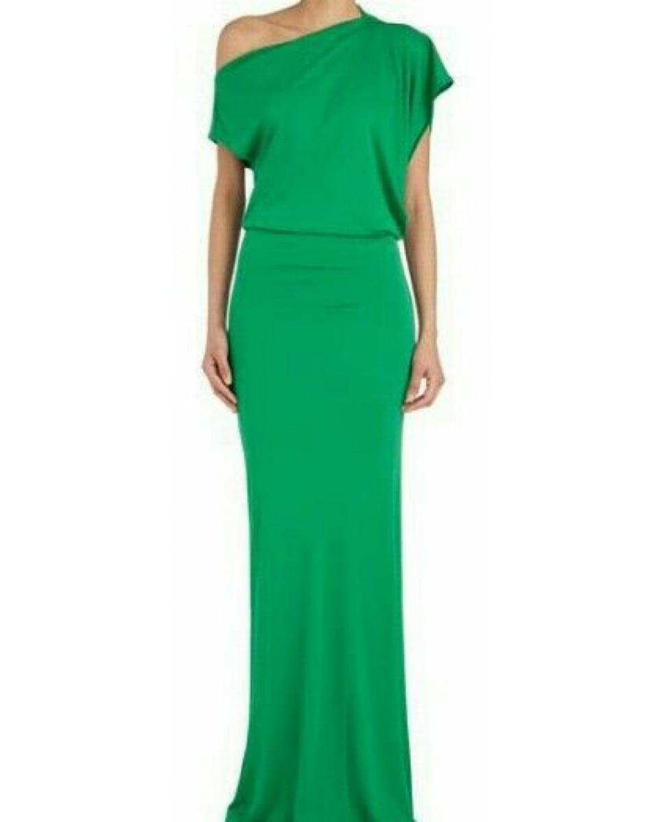 Vestido longo verde liso