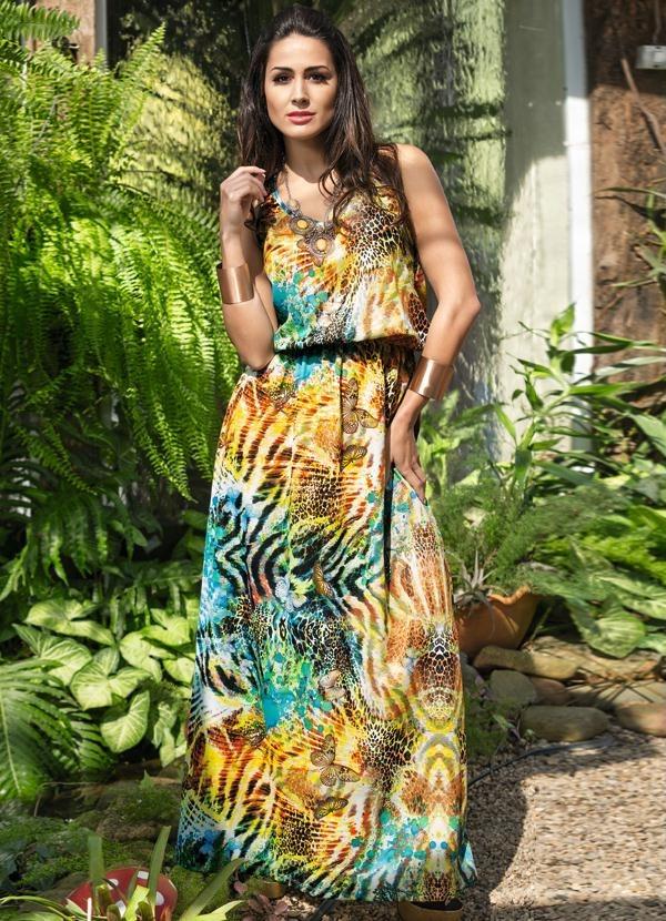 65121ab175 vestido longo verão sem manga elegante barato compra segura. Carregando zoom .