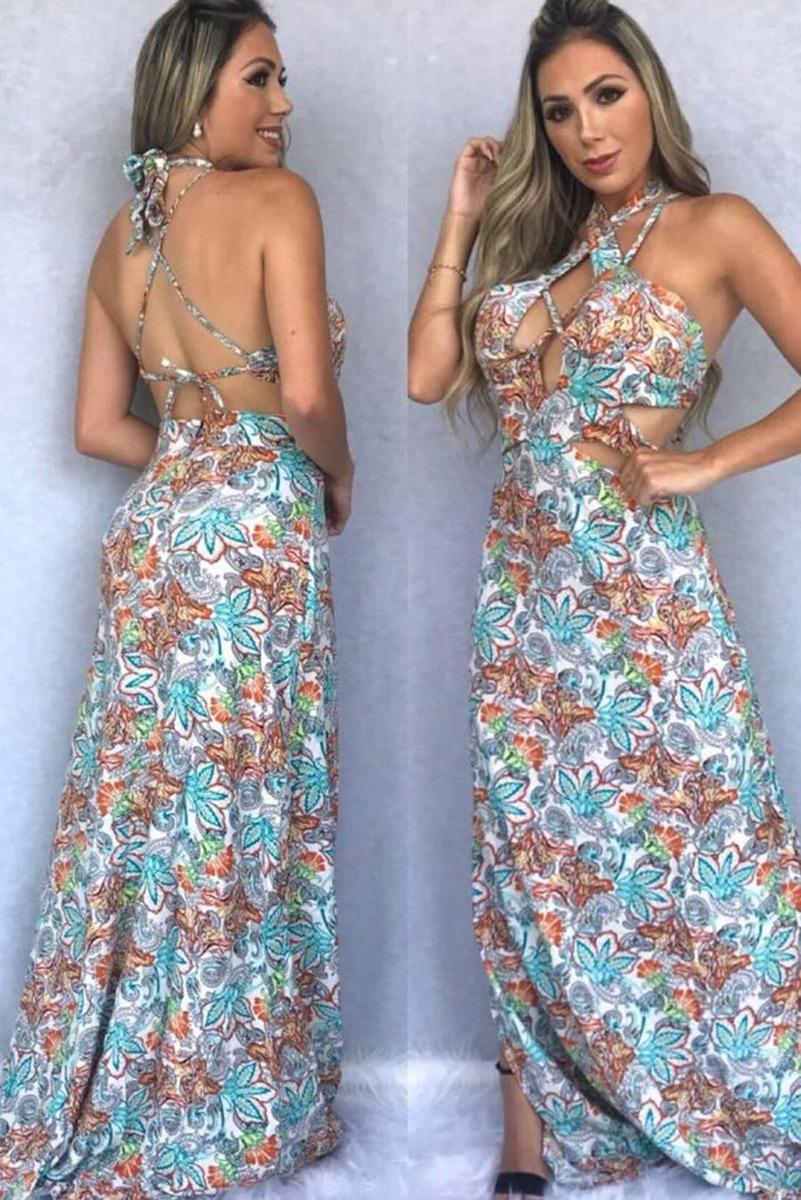 c0d33f0614 vestido longo viscose estampado floral strappy. Carregando zoom.