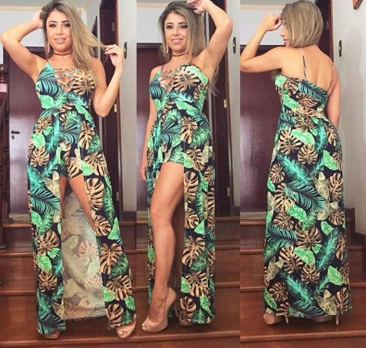 180967dbb Vestido Longo/macaquinho Tirinhas Decote Queima De Estoque - R$ 39 ...