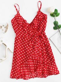 Calidad superior materiales de alta calidad elige genuino Vestido Lunares Puntos Rojo Verano Olanes Y Tirantes Playa
