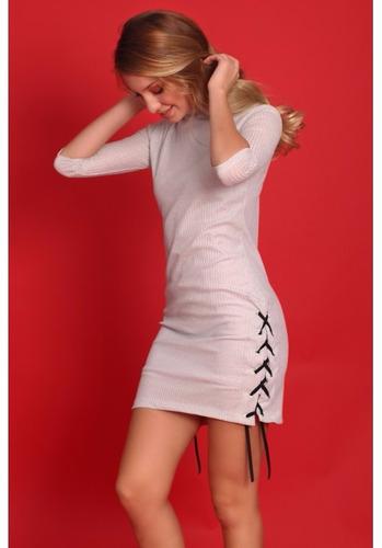 vestido lurex corto mangas 3/4 plateado