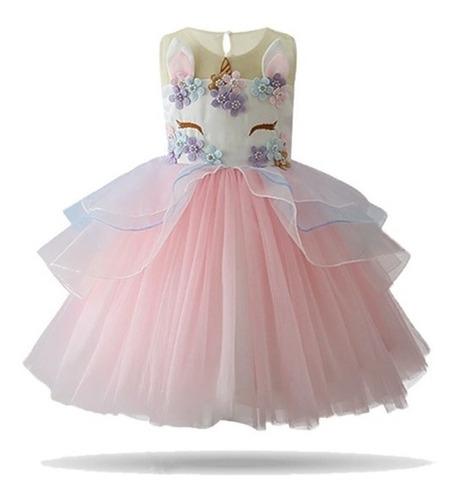 vestido luxo unicórnio festa infantil + chifre, frete grátis