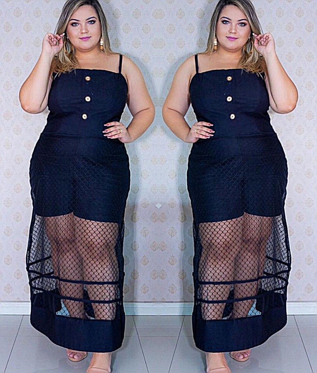33d75e6bf vestido macaquinho plus size tule transparente preto top. Carregando zoom.