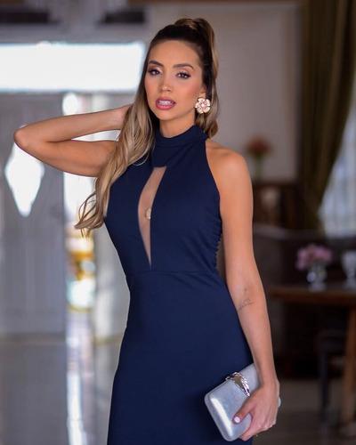 vestido madrinha azul festa longo formatura gola alta #70