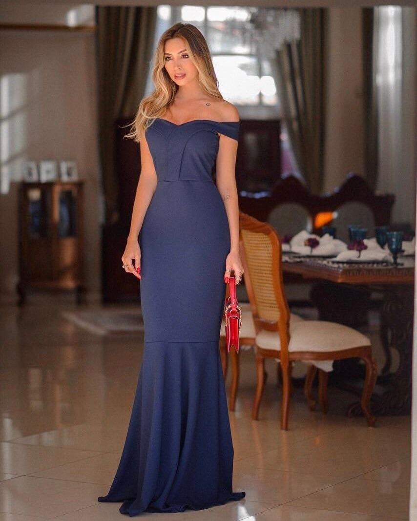 586108afe84b9 vestido madrinha azul marinho festa longo sereia ombro a #73. Carregando  zoom.