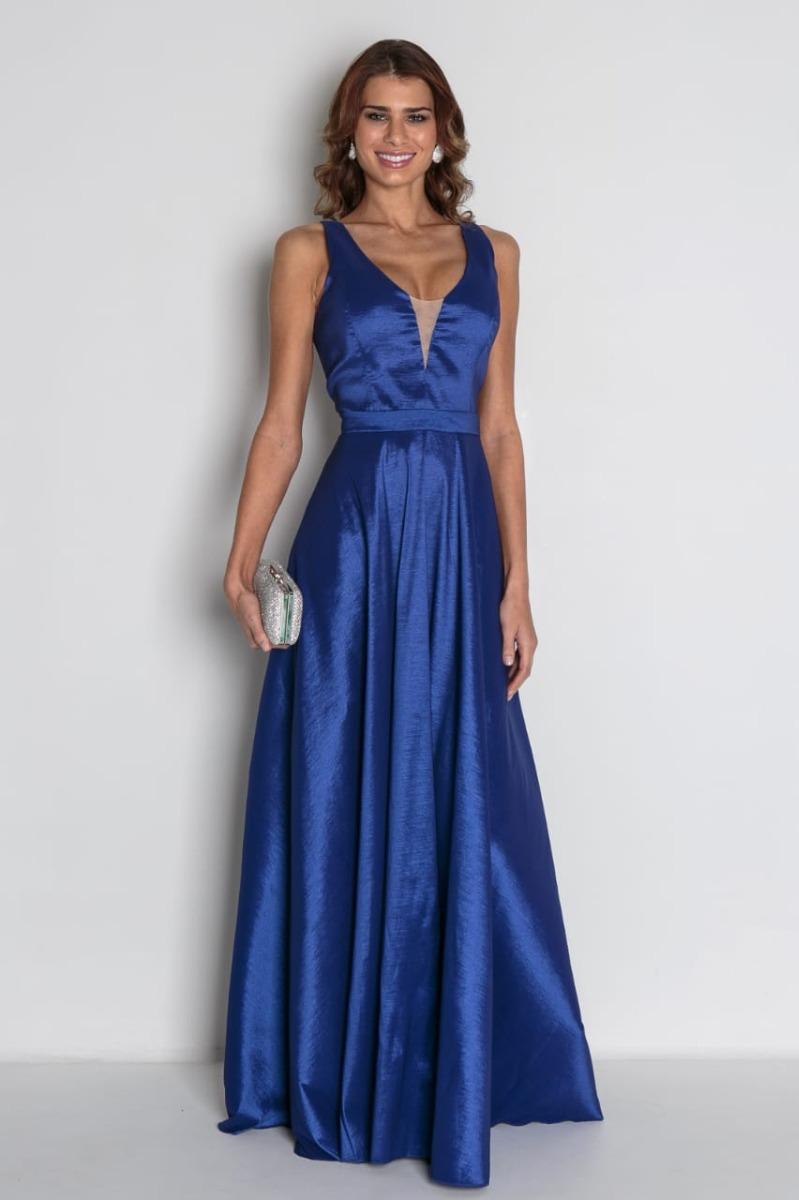 51054812be Vestido Madrinha Festa Formatura Longo Azul Royal - R$ 368,00 em ...