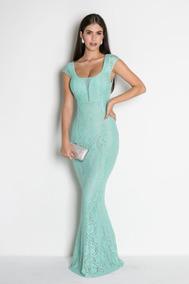 a0fc26401a68 Vestido Madrinha Festa Sereia Renda Longo Nude Verde Tiffany