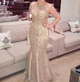 d752625e0 Vestido Longo Dourado Com Pedraria - Vestidos Femininos Longos no ...