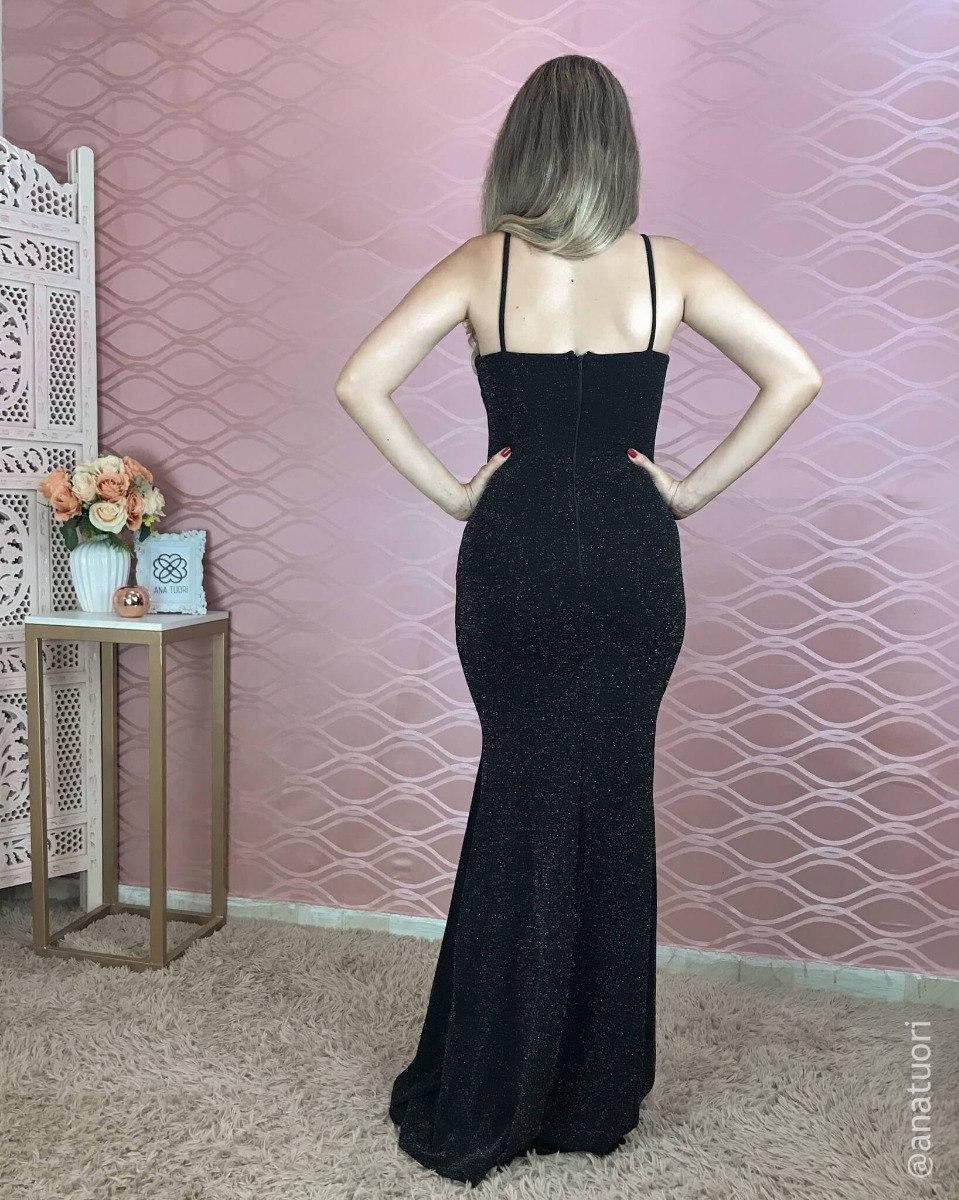 bac031c9a vestido madrinha preto brilho prata festa longo sereia l101. Carregando zoom .