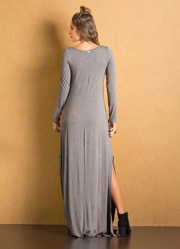 742a001531 vestido malha longo manga longa cinza moda evangélica. Carregando zoom.