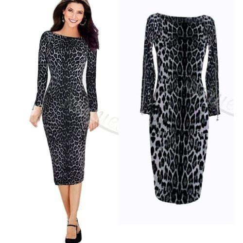 vestido manga comprida leopardo
