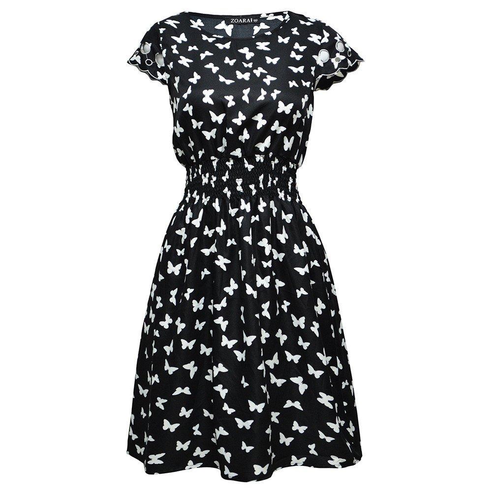 2ee55d73ff vestido manga corta estampado dama mujer negro 8815 zoara. Cargando zoom.