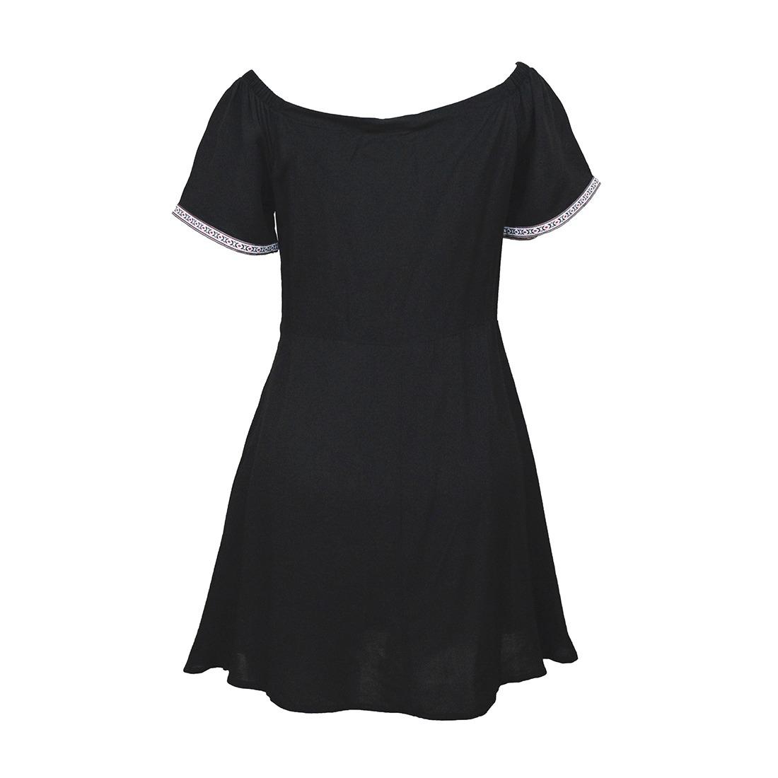 13cd49faa9 vestido manga corta hombros descubiertos 3254 negro zoara. Cargando zoom.
