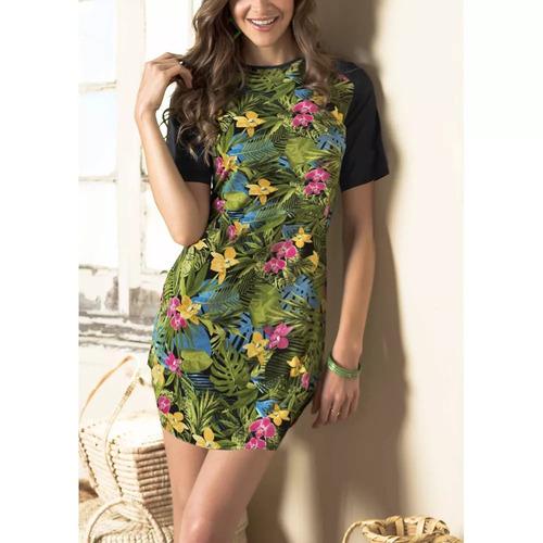 vestido manga corta multicolor con cuello redondo 1214871
