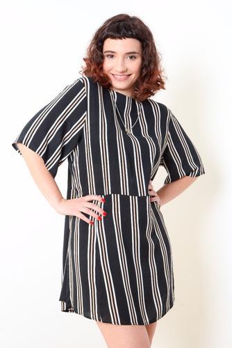 vestido manga corta rayado con cierre