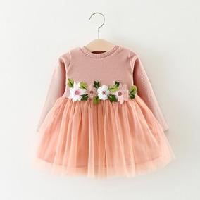 Vestido Manga Larga Falda Tul Flores Ropa Bebés Niñas