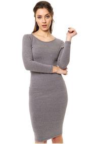 Buenos precios profesional diferentemente Vestido Manga Larga Gris Mia Loreto Modelo Siena