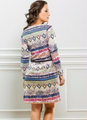 vestido manga longa estampa étnica