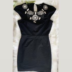 Vestido Marca Bebe Con Pedrería Color Negro Talla Xs