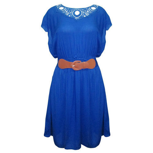 vestido marino manga corta cinturon dama mujer zoara