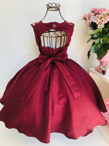vestido marsala infantil renda luxo aniversário cod. 2070