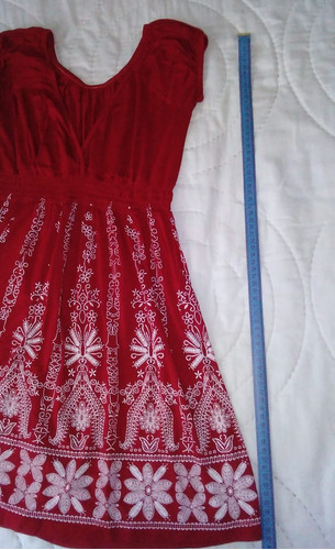 vestido maternal remera larga con bordado blanco talle s