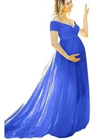 Vestido Maternidad Embarazada Baby Shower Foto Azul Saslax