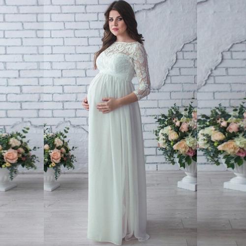 vestido maternidad mujeres encaje manga largo embarazada dis