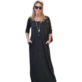 Vestido Maxi (art 015)man3/4- C/bols-algodón T 1 Al 7- 1.45m