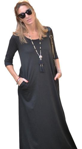 vestido maxi (art 015) manga 3/4-con bolsillo-jersey de  algodón t 1 al 7 largo 1.48m- somos fabricantes