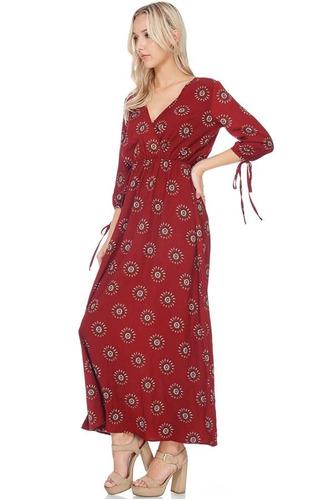 vestido maxi escote cruzado manga fruncida