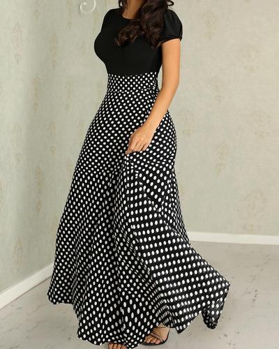 vestido maxi remiendo de la impresión de lunares de manga c