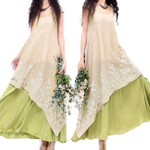 vestido maxi suelto casual suelto vendimia mujeres o bordado