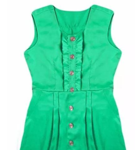 vestido médio verde água cinto moda senhora cetim
