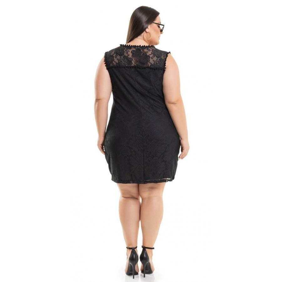 4481fa2ebe vestido meia malha em renda preto miss masy plus size. Carregando zoom.