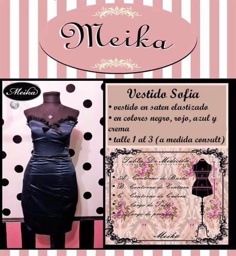 vestido meika de noche, saten, strapless, pin up, retro