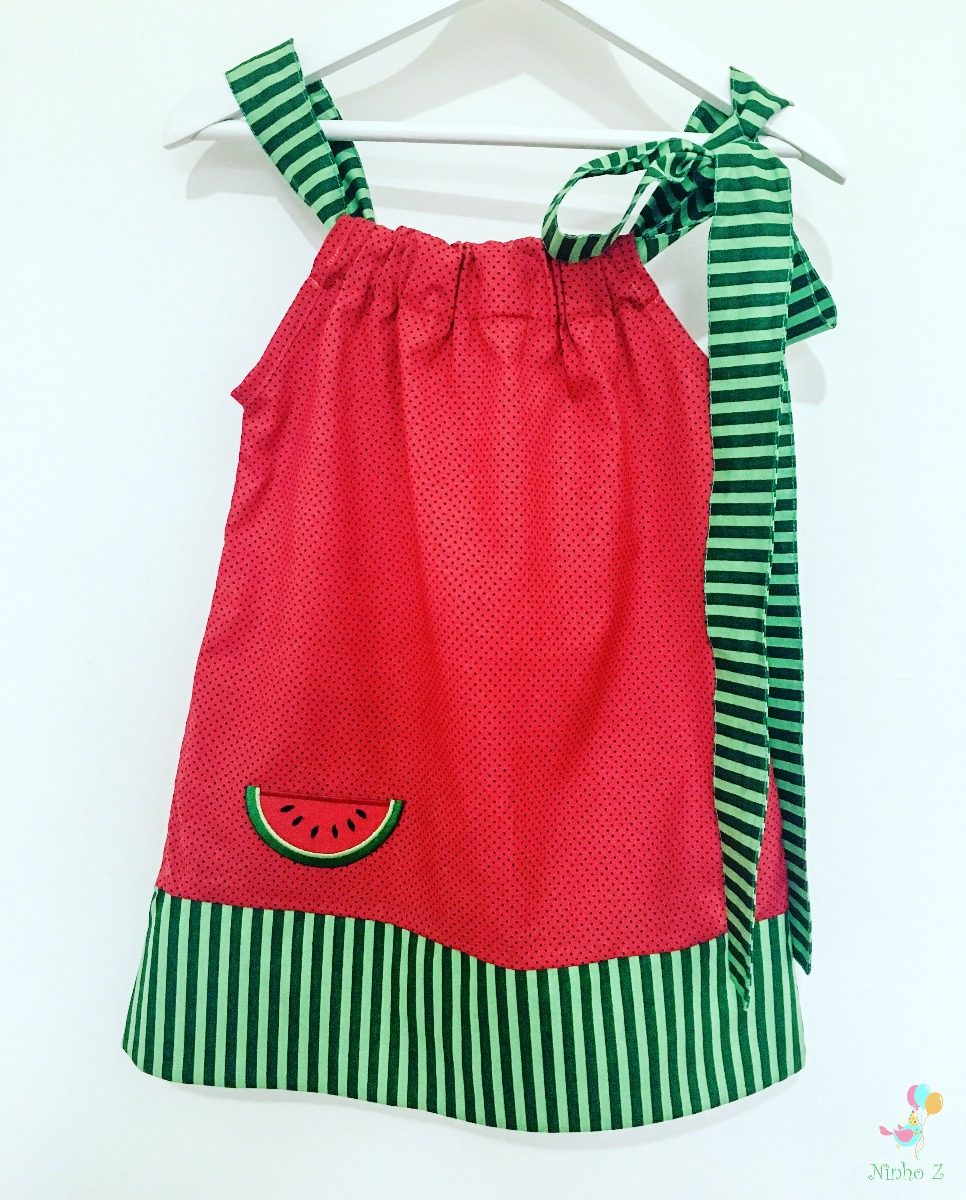 7a44d9b4dd35 Vestido Melancia Magali - R$ 69,90 em Mercado Livre