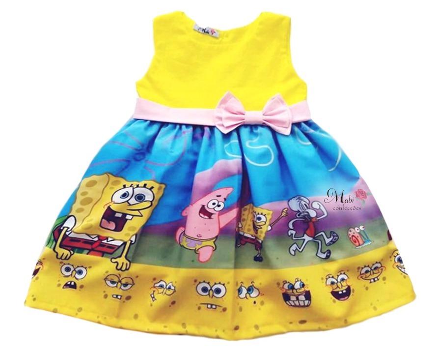 12e0e363df2 vestido menina festa bob esponja infantil. Carregando zoom.