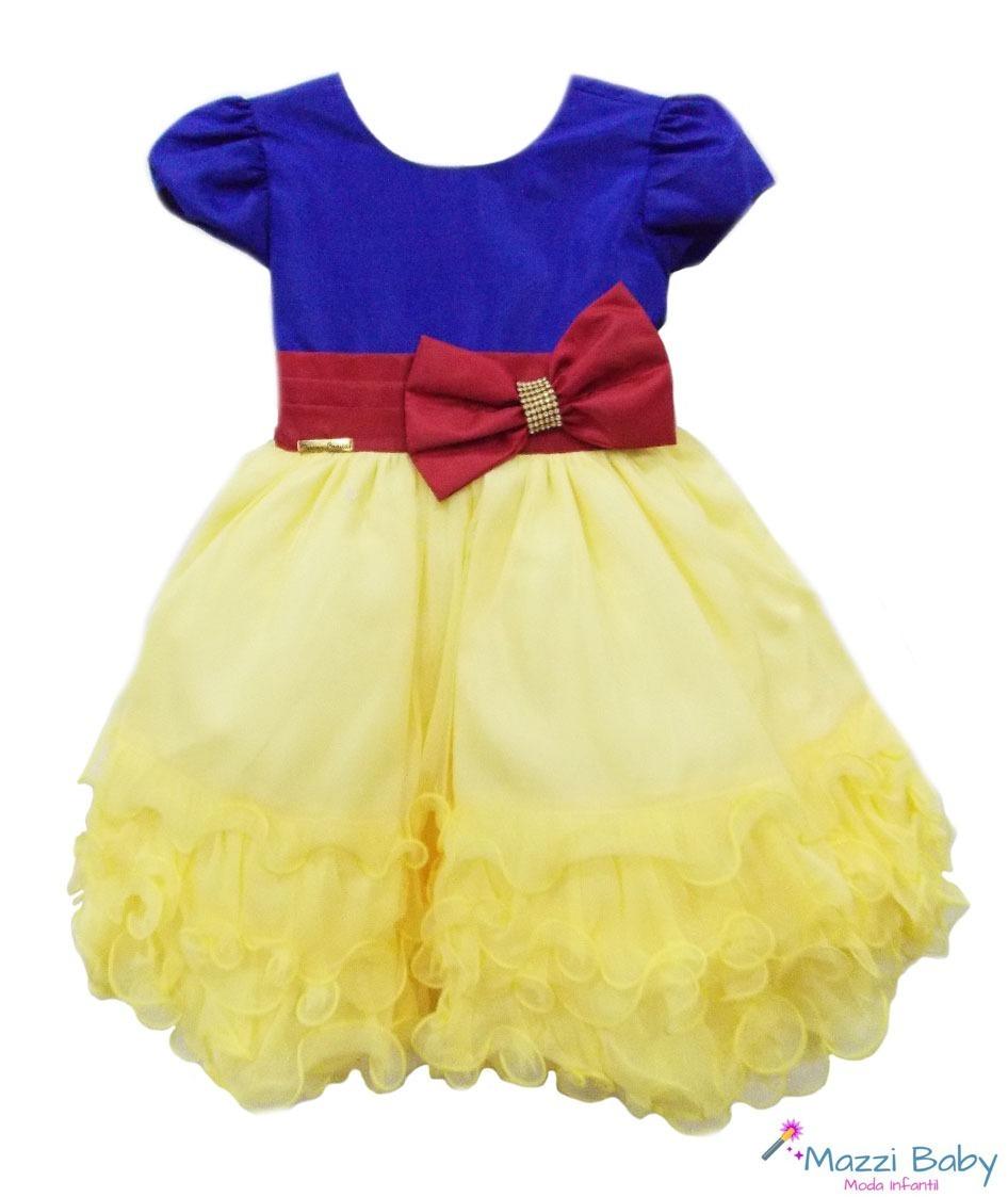 Vestido Menina Festa Infantil Menina Luxo Branca De Neve