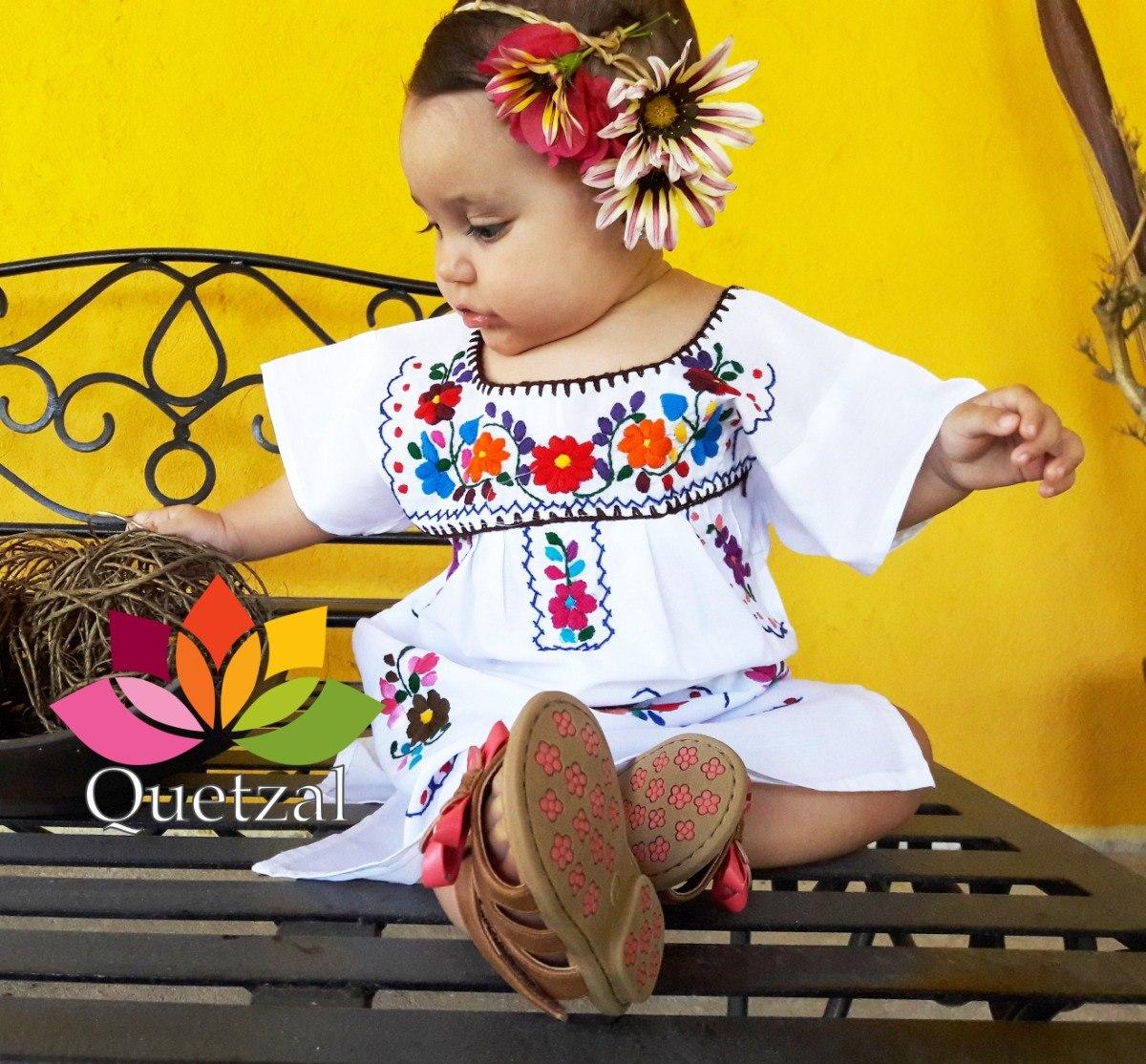 Vestido Mexicano Artesanal Bordado Tehuacán Típico Para Niña