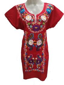 Vestido Mexicano Autentico Bordado Gala Oaxaca Algodon V4