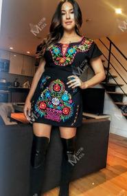Vestido Mexicano Bordado Artesanal Kimono